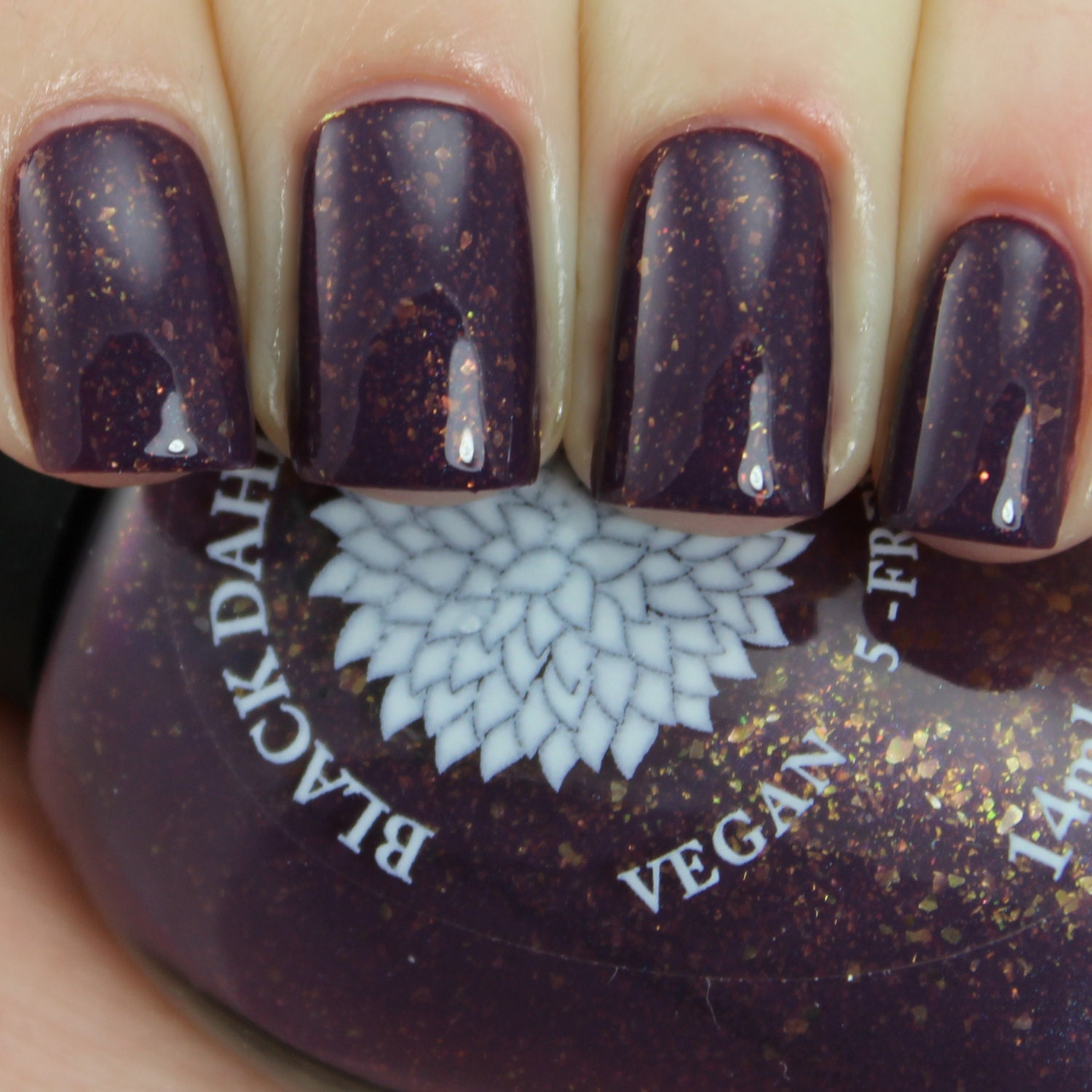 Dark Plum Crelly Nail Polish with Gold Flakies and Shimmer