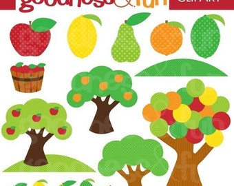 Buy 2, Get 1 FREE - Orchard Whimsy Clipart - Digital Nature Clipart - Instant Download