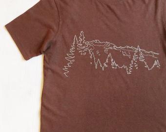 Mens Hemp T-shirt with Mountain Ridge - Brown - Screen Printed