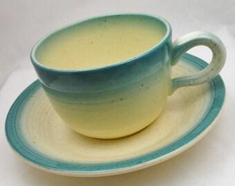 5 Sets Franciscan Cups & Saucers BLUE SKIES Turquoise Aqua Trim Pottery