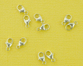 sterling silver lobster clasp 8mm - 5pcs or more - shiny, tiny pear shape necklace clasp - lobster claw trigger clasps - stamped 925