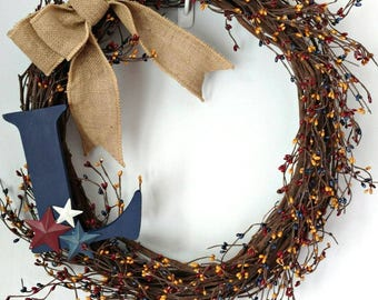 Rustic country Americana wreath.  Pip berry wreath.  Americana wreath. Prim front door wreath. Star wreath.  Primitive country wreath.