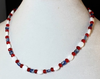 Red White and Blue Jade Quartz and Crystal Necklace