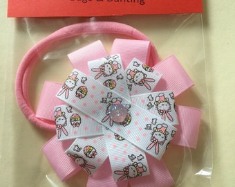 Baby hair bands Pink rosette ribbon