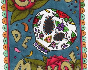 Hand drawn digital stamp / colouring page ~ 'Cinco de Mayo'