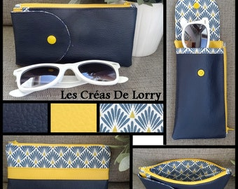 Glasses 2 in 1 case wallet blue faux maeine and yellow