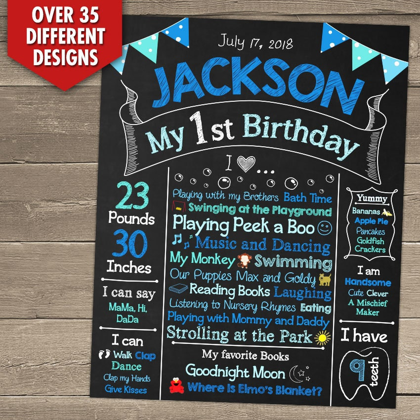 First birthday chalkboard first birthday chalkboard sign 1st zoom stopboris Images