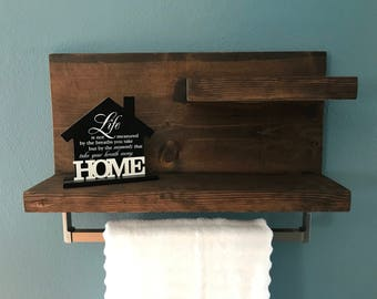 2 Tier Shelf with Towel Bar, Bathroom Shelf, Towel Bar, Towel Rack, Bathroom Towel Bar, Rustic Towel Shelf, Rustic Bathroom Shelf, Wedding