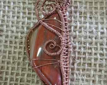 Wire Wrapped Necklace, Jasper Necklace, Copper Handmade from Oregon USA