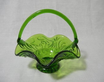 Vintage Green Glass Basket