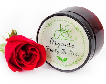 Rose Petals Natural Organic Body Butter, Handmade with shea butter and essential oils, 4 oz (114 grams)