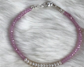 Delicate Freshwater pearl and Pink Zircon Bracelet - 3.5mm