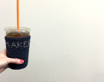 maker cozy. navy and gray cozy. Crochet iced coffee cozy. etsy seller cup cozy. Cotton cup sleeve. Eco friendly cup jacket entrepreneur gift