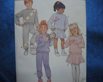 vintage 1980s Butterick sewing pattern Children's  pullover top pants skirt UNCUT size 5-6-6X