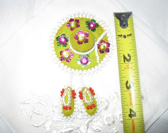 Mid Century Souvenir/Vintage Pin Felt and Foil and Glass Beads Sombrero and Shoes/Vintage Felt Pin/ c.1960s