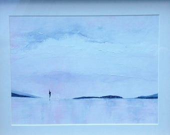 Seascape painting. Tranquility, 28cmx23cm,  a gentle, original, framed seascape; NOT a print