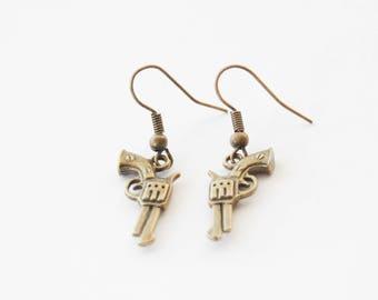 Gun Earrings, Gun Jewelry, Revolver Earrings, Sharpshooter earrings, Handgun Earrings, Police Earrings, Gun Accessories