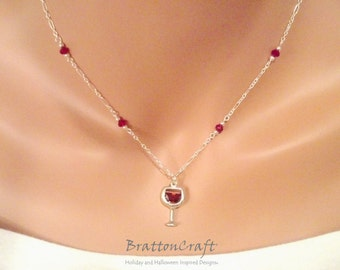 Sterling Silver Wine Glass Necklace with Red Beads - Wine Lover Necklace - Red Wine Glass Necklace - Wine Jewelry