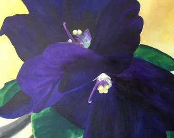 Acrylic painting, African Violet, Muted Yellow Background