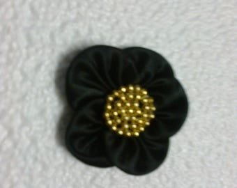 Black polyester with Golden beads flower