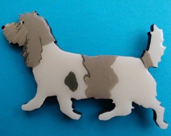 Petit Basset Griffon Vendeen Pin, Magnet or Ornament -PBGV -Color Choice -Free Shipping- Hand Painted
