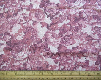 Mauve Floral on Cream Background - 1/2 Yard  M-1/2-11