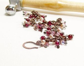 Garnet, Pearl and Crystal Beaded Charm Bracelet, Romantic Pink Jewellery, Copper Dangle Bracelet