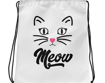 Cat Drawstring bag Meow - Cat gym bag - Cat sports bag - cat lover gift - Cat gift bag - Cat lover Bag - gift for cat lover