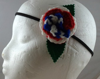 Crocheted Red, White, and Blue Star Rose Headband (SWG-HH-HEAM03)
