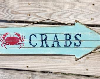 Crab Directional pallet Arrow Sign Nautical Beach Coastal Decor
