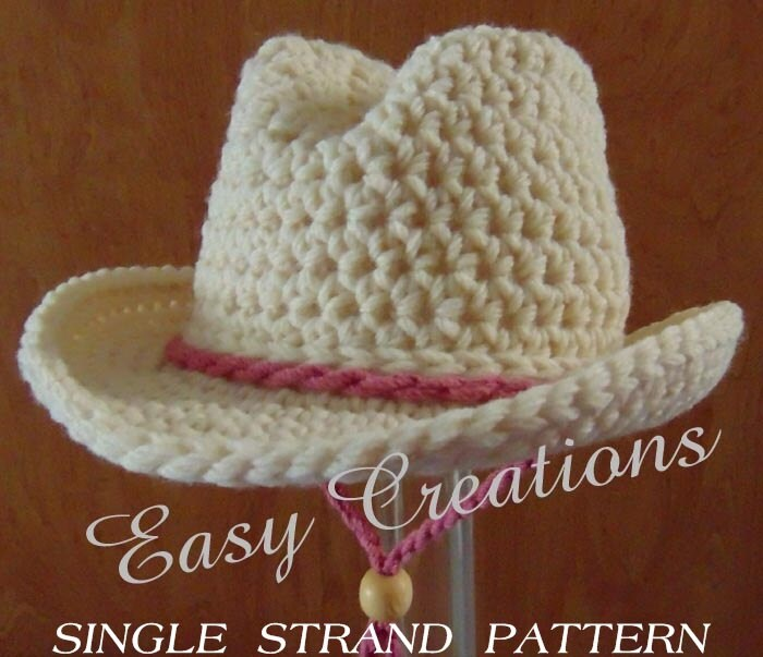 Single Strand Crochet Pattern Cowboy Cowgirl Hat Baby Rodeo