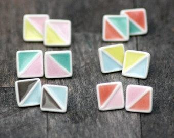 geometric stud earrings, handmade porcelain