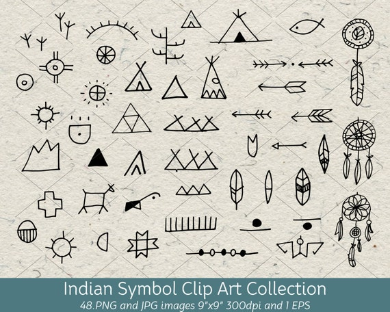 hand drawn doodle native american indian symbol clip art rh etsy com Native American Tee Pee Clip Art Native American Designs Clip Art