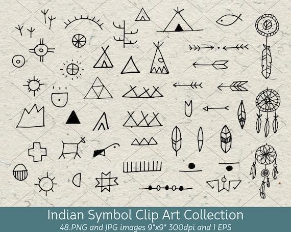 hand drawn doodle native american indian symbol clip art arrows rh etsystudio com Native American Horse Clip Art Native American Thunderbird Clip Art