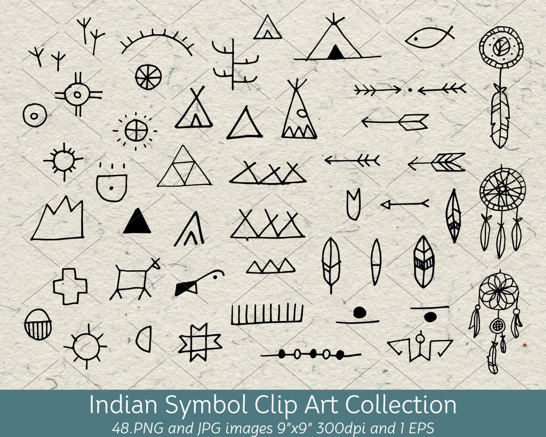 hand drawn doodle native american indian symbol clip art rh etsy com Native American Thunderbird Clip Art Native American Tee Pee Clip Art