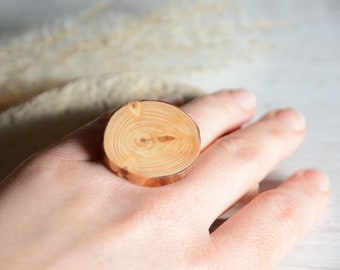 Statement ring with big wooden gem, adjustable OOAK natural wood ring, nature inspired unique ring for her by MyPieceOfWood