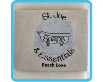 Beach Love Soap, Handmade Soap, All Natural Soap, Organic Saponified Olive Oil, Coconut Oil, Shea Butter, Fragrance Oil