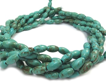 Magnesite Beads, Dark Green 12mm Oval Beads, 15 inch Gemstone Strand, Jewelry Making Supplies, Item 324 gsm