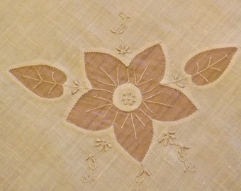 Hand Appliqued And Hand Embroidered Square Luncheon Tablecloth