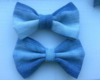 Basic denim bow on alligator clip