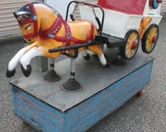 Vintage Horse and Wagon Coin Operated Kiddie Ride