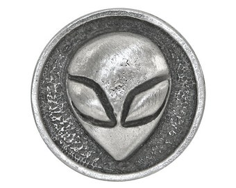 2 Alien 7/8 inch ( 21 mm ) Pewter Metal Buttons
