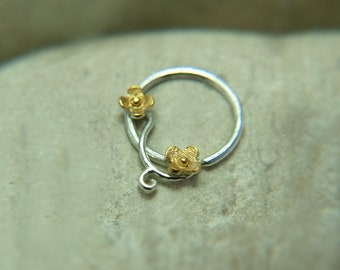 Nose Hoop - Nose Ring - Nose Ring Hoop - Nose Piercing - Tragus Piercing - Helix - Cartilage Piercing 14K Yellow Gold Filled Flower Hoop