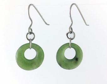 Nephrite Jade Earrings Special Silver Tone
