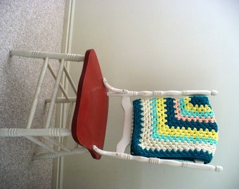 Granny Square Baby Blanket Throw Colorful Vintage Farmhouse Rug