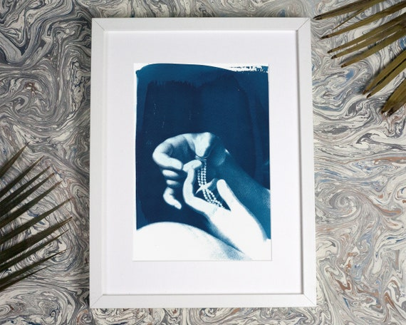 Engagement Art Print Cyanotype, Hands Holding Ring and Necklace, Wedding Art, Artist Wedding, Just Married, Engagement Party, Wedding 2018