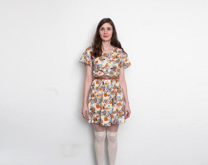 60s orange brown and White floral Mini Dress Unworn Vintage  L size
