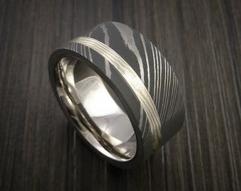 Wide damascus steel and mokume ring with palladium sleave wedding band custom made