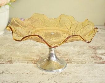 Pedestal cake plate or sweet dish, vintage amber pressed glass