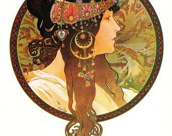 """Alphonse MUCHA 1976 Authentic Vintage Art Nouveau PRINT """"Tete Byzantine-Brunette"""""""